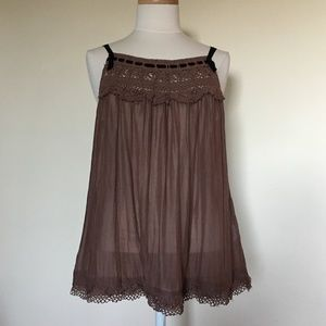 Joie Brown Silk Blend Lace Top (M)